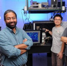 Iowa State University and Ames Laboratory researchers, left to right, Sanjeevi Sivasankar, Chi-Fu Yen and Hui Li have invented microscope technology to study single biological molecules.