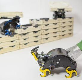 The TERMES robots can carry bricks, build staircases, and climb them to add bricks to a structure, following low-level rules to independently complete a construction project.