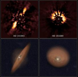 The two images at top reveal debris disks around young stars uncovered in archival images taken by NASA's Hubble Space Telescope. The illustration beneath each image depicts the orientation of the debris disks.