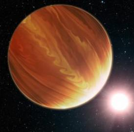 This is an artistic illustration of the gas giant planet HD 209458b in the constellation Pegasus. To the surprise of astronomers, they have found much less water vapor in the hot world's atmosphere than standard planet-formation models predict.