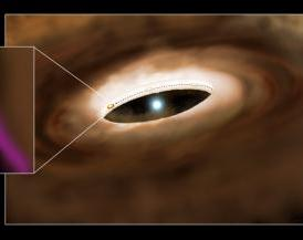 This is an artist's conception of the young massive star HD100546 and its surrounding disk. A planet forming in the disk has cleared the disk within 13AU of the star, a distance comparable to that of Saturn from the sun. As gas and dust flows from the circumstellar disk to the planet, this material surrounds the planet as a circumplanetary disk (inset). These rotating disks are believed to be the birthplaces of planetary moons, such as the Galilean moons that orbit Jupiter. While they are theoretically predicted to surround giant planets at birth, there has been little observational evidence to date for circumplanetary disks outside the solar system. Brittain et al. (2014) report evidence for an orbiting source of carbon monoxide emission whose size is consistent with theoretical predictions for a circumplanetary disk. Observations over 10 years trace the orbit of the forming planet from behind the near side of the circumstellar disk in 2003 to the far side of the disk in 2013. These observations provide a new way to study how planets form.