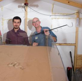 Researchers studied sidewinder snakes to understand the unique motion they use to climb sandy slopes. Shown (l-r) are Dan Goldman of Georgia Tech, Hamid Marvi of Carnegie Mellon and Joe Mendelson of Zoo Atlanta.