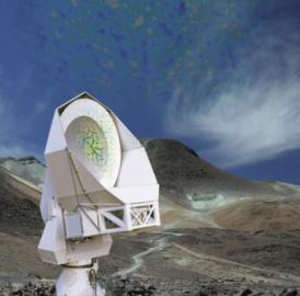 This is the Huan Tran Telescope in the Atacama Desert of Chile. The POLARBEAR microwave bolometers are mounted on the telescope to study the polarization of light from a period 380,000 years after the Big Bang.