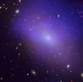This is elliptical galaxy NGC 1132, as seen by NASA's Chandra X-Ray Observatory; the blue/purple in the image is the X-ray glow from hot, diffuse gas that is not forming into stars.