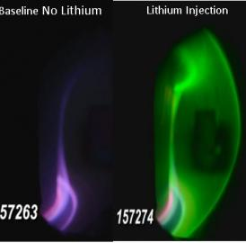 This is a comparison of visible light from a reference no-Li discharge and one with Li injection in DIII-D. Li-II visible emission is primarily green in this image from Lawrence Livermore National Laboratory.