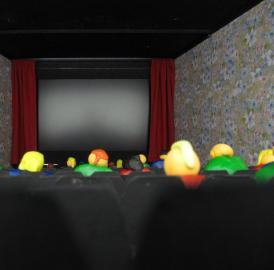 This is a view of the 24-inch computer screen in the miniature movie theater.