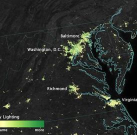 City lights shine brighter during the holidays in the US when compared with the rest of the year, as shown using a new analysis of daily data from the NASA-NOAA Suomi NPP satellite. Dark green pixels are areas where lights are 50 percent brighter, or more, during December.