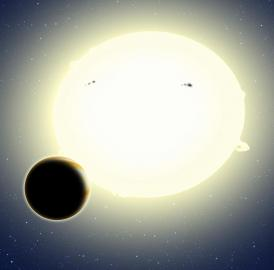 This artist's conception portrays the first planet discovered by the Kepler spacecraft during its K2 mission. A transit of the planet was teased out of K2's noisier data using ingenious computer algorithms developed by a CfA researcher. The newfound planet, HIP 116454b, has a diameter of 20,000 miles (two and a half times the size of Earth) and weighs 12 times as much. It orbits its star once every 9.1 days.