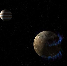In this artist's concept, the moon Ganymede orbits the giant planet Jupiter. NASA's Hubble Space Telescope observed aurorae on the moon generated by Ganymede's magnetic fields. A saline ocean under the moon's icy crust best explains shifting in the auroral belts measured by Hubble.