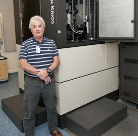 This is Edward H. Egelman, Ph.D., and UVA's Titan Krios microscope.