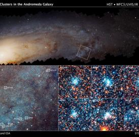 This is a Hubble mosaic of 414 photographs of the M31, or the Andromeda galaxy. On the bottom left is an enlargement of the boxed field (top) reveals myriad stars and numerous open star clusters as bright blue knots,spanning 4,400 light-years across. On the bottom right are six bright blue clusters extracted from the field. Each cluster square is 150 light-years across.
