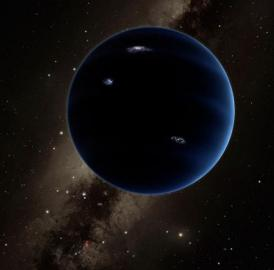 This artist's rendering shows the distant view from Planet Nine back towards the sun. The planet is thought to be gaseous, similar to Uranus and Neptune. Hypothetical lightning lights up the night side.