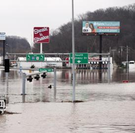 Intersection of Interstate 44 and Route 141 in St. Louis County, Mo., on Dec. 30, 2015. Water levels more than 4 feet higher than previous record floods closed a 20-mile stretch of the highway.