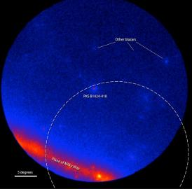 Fermi LAT images showing the gamma-ray sky around the blazar PKS B1424-418. Brighter colors indicate greater numbers of gamma rays. The dashed arc marks part of the source region established by IceCube for the Big Bird neutrino (50-percent confidence level). Left: An average of LAT data centered on July 8, 2011, and covering 300 days when the blazar was inactive. Right: An average of 300 active days centered on Feb. 27, 2013, when PKS B1424-418 was the brightest blazar in this part of the sky.