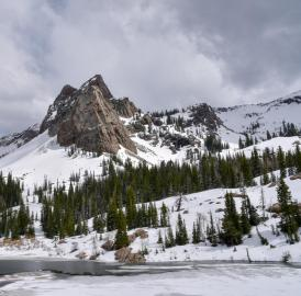 This is Sundial Peak, in the Wasatch Mountains, with Lake Blanche (elevation 8920 feet, 2718 meters) in the foreground, May 2016.
