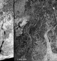 These Envisat radar images highlight the extent of flooding in the Irrawaddy delta caused by the cyclone Nargis that hit Myanmar on May 3, 2008, devastating the country. The left image, acquired on Feb. 5, 2007, shows the situation approximately one year ago. The black and dark areas in the image on the right, acquired on May 5, 2008, indicate areas potentially still flooded two days after the event. Envisat's Advanced Synthetic Aperture Radar data are especially well suited for delivering information on floods, which are usually accompanied by rain and therefore cloudy conditions. Radar sensors can peer through clouds, rain or local darkness and are especially sensitive to moisture on the ground.