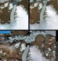 A 29 sq. km. (11 sq. mi.) area of the Petermann Glacier in northern Greenland (80˚N, 60˚W) broke away between July 10th and by July 24th. Petermann has a floating section 16 km (10 mi) wide and 80 km (50 mi) long, that is, 1295 sq. km (500 sq mi); the longest floating glacier in the Northern Hemisphere.