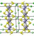 NIST research shows that magnetism plays a key role in iron pnictide superconductors' crystal structure. (Iron is purple; arsenic is yellow; calcium is green.) Only if the iron's magnetism is taken into account do calculations of the distance between these crystal layers match up with lab measurements. Magnetism's importance to their physical properties make it a likely factor in the iron pnictides' ability to superconduct, say team members.