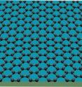 Graphene consists of carbon atoms only one atomic layer thick, with the unique characteristic that its electrons behave as if they have zero mass.