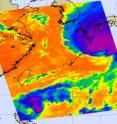 NASA&#039;s Aqua satellite captured cold thunderstorm cloud tops of both Parma (lower left) and Melor (top right) in this infrared image Oct. 7. Parma continues to rain on northern Luzon in the Philippines, while Melor is now bringing rains and winds over southern Japan.