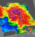 NASA&#039;s QuikScat satellite read Ida&#039;s sustained wind speeds on Nov. 9 at 11:23 UTC (6:23 a.m.EDT). Ida&#039;s sustained winds were near 70 mph. White barbs show direction of wind and point to areas of heavy rain. The highest wind speeds are normally shown in purple, which indicate winds over 46 mph.