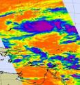 This infrared image from NASA's Atmospheric Infrared Sounder instrument on the Aqua satellite showed some high cold (purple) thunderstorms in Tropical Depression 02W.