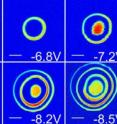 These images show the electrostatic energy given off when electrons are added to a quantum dot. They were made with an atomic-force microscope.