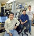 Ming Liu (foreground), Xiang Zhang and Thomas Zentgraf have created the first nano-sized light mill motor whose rotational speed and direction can be controlled by tuning the frequency of the incident light waves. This new concept 