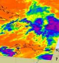 NASA's infrared AIRS image showed high (strong) thunderstorms in System 97L were over Haiti, the Dominican Republic, Puerto Rico, and the Virgin Islands. The bulk of the thunderstorm activity was east of Puerto Rico. Strong convective activities as indicated by high thunderstorms (in purple) are cold as -63F.
