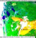 This is a false color image from August 4 which highlights the smoke from the wildfires as bright yellow.