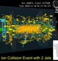 This is a picture of lead-lead collision measured in the ATLAS detector at CERN. The collision contains two powerful &quot;jets&quot; of particles. The new result of ATLAS shows that these can &quot;melt&quot; at the temperatures achieved in the lead collisions of the LHC.