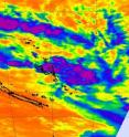 When NASA's Aqua satellite passed over System 96P on March 8, most of the coldest, highest cloud tops and strongest thunderstorms (purple) were still over open waters and east of Vanuatu.