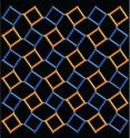 This 2-D image illustrates a lattice composed of two repeating squares that represent molecular structures, one rotated clockwise (color coded blue) and another counterclockwise (color coded orange) with respect to each other. Such structures have many more symmetries than had been recognized before a new way of understanding the structure of proteins, polymers, minerals, and engineered materials was discovered by Venkatraman Gopalan and Daniel B. Litvin at Penn State Unviersity (to be published in May 2011 in Nature Materials). The discovery, a new type of symmetry in the structure of materials, greatly expands the possibilities for discovering or designing materials with desired properties. The research is expected to have broad relevance in many development efforts involving physical, chemical, biological, or engineering disciplines including; for example, the search for advanced ferroelectric ferromagnet materials for next-generation ultrasound devices and computers.