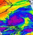 This infrared image of Super Typhoon Songda was captured by the AIRS instrument on NASA's Aqua satellite on May 27, 2011, at 5:05 UTC (1:05 a.m. EDT). At this time, Songda was a Category 4 storm. The purple areas indicate very strong thunderstorms with heavy rainfall and there is a large area of them that surround the visible eye. Taiwan is northwest of the storm.