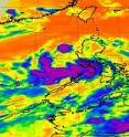 This image of Tropical Depression 05W in the Northwestern Pacific June 8 at 1741 UTC (1:41 p.m. EDT) from the NASA AIRS instrument shows strong thunderstorms (purple) over the southern side of the circulation center.