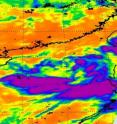 NASA&#039;s AIRS instrument on the Aqua satellite captured this infrared image of 06W on June 20 at 18:05 UTC (2:05 p.m. EDT) when it was still a tropical storm. The purple areas represent icy cold temperatures of -63F/-52C and high, strong thunderstorms. The storm has weakened and appears much more disorganized today.