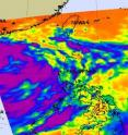 NASA&#039;s Aqua satellite passed over the eastern side of Tropical Storm Nock-ten and the AIRS instrument captured this infrared image of the storm&#039;s cold cloud tops (purple) and strong thunderstorms on July 28 at 0517 UTC (1:47 a.m. EDT). Hainan Island, China is located to the west and can be seen on the left side of the image.