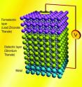 Shown is a rendition of an experimental stack made with a layer of lead zirconate titanate, a ferroelectric material. UC Berkeley researchers showed that this configuration could amplify the charge in the layer of strontium titanate for a given voltage, a phenomenon known as negative capacitance.