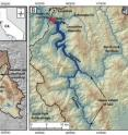 This graphic shows the Eel River system in northern California, where researchers found evidence for an ancient lake.