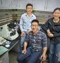 From left Peter Bai, Joseph Kao and Ting Xu incorporated gold nanoparticles into solutions of block co-polymer supramolecules to form multiple-layers of self-assembled thin films.