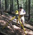 University of Montana's Andrew Larson surveys a portion of a plot in Yosemite National Park where scientists and volunteers tallied above-ground biomass including live trees, snags and downed woody debris.