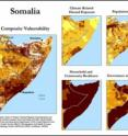 Climate security vulnerability in Somalia is greatest in and around the capital of Mogadishu and the far north. Insecurity in these areas is driven by all four dimensions of vulnerability, but particularly by low resilience and poor governance.