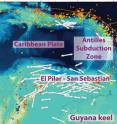 This is a tectonic map of the southeastern Caribbean with shear-wave splitting measurements