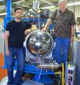 This image shows Alexander Gray (left) and Charles Fadley at Beamline 9.3.1 of Berkeley Lab's Advanced Light Source where they are now carrying out HARPES experiments.