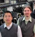 "Graduate student co-authors, L to R, Chunhua Dong, Victor Fiore and Mark Kuzyk worked with their faculty adviser Hailin Wang, a physicist at the University of Oregon, to employ a theorized ""dark mode"" to convert an optical field, a signal, from one color to another."
