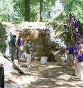 A group of school students visits the Washington University excavations of Mound A at Poverty Point. While doing work at the site, researchers collaborate closely with the Louisiana Office of State Parks to conduct educational and outreach efforts that enhance understanding of the rich history and archaeology of America's Native inhabitants.