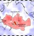 """This map shows Earth's surface superimposed on a depiction of what a new University of Utah study indicates is happening 1,800 miles deep at the boundary between Earth's warm, rocky mantle and its liquid outer core. Using seismic waves the probe Earth's deep interior, seismologist Michael Thorne found evidence that two continent-sized piles of rock are colliding as they move atop the core. The merger process isn't yet complete, so there is a depression or hole between the merging piles. But in that hole, a Florida-sized blob of partly molten rock -- called a """"mega ultra low velocity zone"""" -- is forming from the collision of smaller blobs on the edges of the continent-sized piles. Thorne believe this process is the beginning stage of massive volcanic eruptions that won't occur for another 100 million to 2100 million years."""