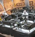Technicians complete the primary mirror backplane support structure wing assemblies for NASA's James Webb Space Telescope at ATK's Space Components facility in Magna, Utah. ATK recently completed the fabrication of the primary mirror backplane support structure wing assemblies for prime contractor Northrop Grumman on the Webb telescope.