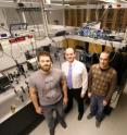 University of Chicago researchers have created synthetic molecules that support-long-lived quantum coherence at room temperature. Pictured (l-r) are postdoctoral scholar Graham Griffin, professor Greg Engel and graduate student Dugan Hayes.