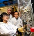 "Purdue University doctoral students, from left, Xuan Li and Seockmo Ku operate a new system that concentrates foodborne salmonella and other pathogens faster than conventional methods, representing a potential new tool for speedier detection. The research is led by Michael   Ladisch, center, a distinguished professor of agricultural and biological engineering. A publication-quality photo is available at <a target=""_blank"" href=""http://www.purdue.edu/uns/images/2013/ladisch-concentration.jpg"">http://www.purdue.edu/uns/images/2013/ladisch-concentration.jpg</a>"